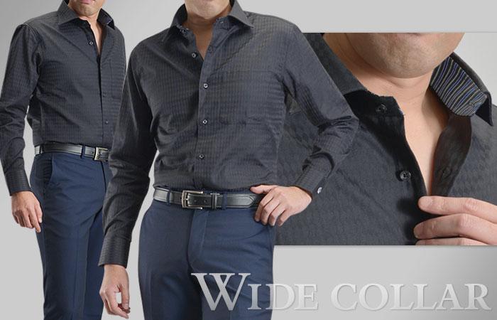 衿型はワイドカラー。生地はホワイトベースのネイビーストライプ。台衿裏と袖裏をストライプ生地で切り替えたオセロタイプ。ボタン付け糸にネイビー糸を使用。